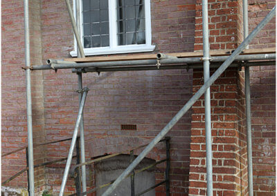 Scaffolding to support the clocktower